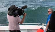 Interviews in a 4 metre swell
